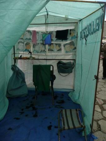 Coiffuersalon an der feria in El Alto